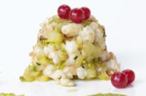 Tortino di mela e gamberi bianchi