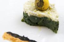 Spuma di mare su tortino di spinaci