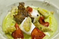 Crema di asparagi con baccalà Ràfols cotto a bassa temperatura e tempura di asparagi